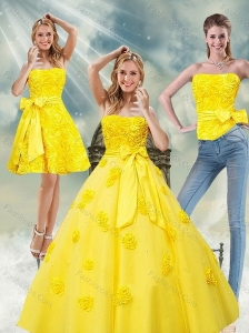 2015 Detachable Yellow Quince Dresses with Rolling Flowers and Bowknot