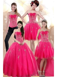 2015 Elegant Strapless Hot Pink Dresses for Quince with Appliques