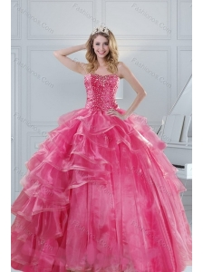 2015 Gorgeous Pink Strapless Sweet 15 Dresses with Beading and Ruffles