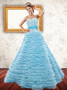 2015 Light Blue Strapless Quinceanera Dresses with Beading and Ruffled Layers