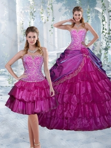 2015 Luxurious Appliques and Ruffled Layers Quinceanera Dresses in Fuchsia