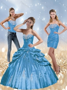 2015 New Style Baby Blue Quinceanera Dresses with Beading and Pick Ups