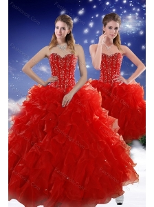 2015 Perfect Red Sweet 15 Dresses with Beading and Ruffles