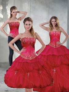 2015 Pretty Red Quinceanera Dresses with Beading and Ruffles