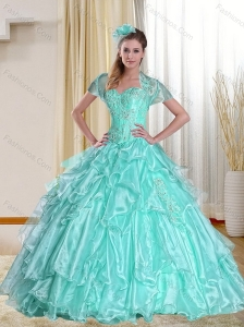 2015 Sophisticated Sweetheart Apple Green Quinceanera Dresses with Appliques