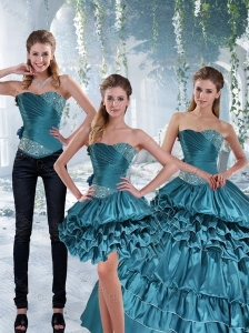 2015 Teal Sweet 16 Dresses with Ruffled Layers and Beading