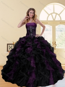 2015 Wonderful Multi Color Strapless Quinceanera Dresses with Ruffles and Beading
