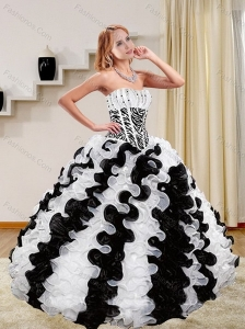 2015 Zebra Print White and Black Quince Dresses with Beading and Ruffles