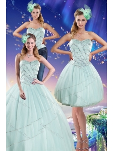 Apple Green Strapless 2015 Quinceanera Dresses with Beading