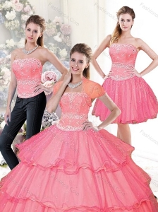 Beautiful 2015 Hot Pink Quinceanera Dresses with Beading and Ruffled Layers