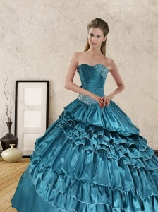 Beautiful 2015 Ruffled Layers and Beading Quinceanera Dresses in Teal