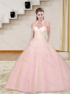Decent 2015 Baby Pink Sweetheart Quinceanera Dresses with Beading and Appliques