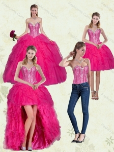 Decent Hot Pink Sweetheart Dress for Quince with Ruffles and Beading