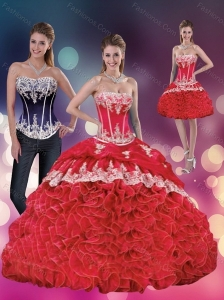 Elegant 2015 Red Strapless Quinceanera Dresses with Appliques