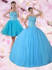 Gorgeous Detachable Baby Blue Strapless Quinceanera Dress with Beading