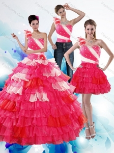One Shoulder Ruffled Layers and Beading Multi Color Quinceanera Dresses for 2015