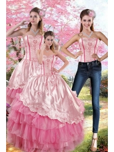 Pink Strapless 2015 Quinceanera Dresses with Embroidery and Ruffles