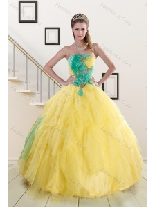 Popular 2015 Strapless Yellow and Green Sweet 15 Dresses with Ruching