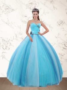 Popular Light Blue Sweetheart Quinceanera Dresses with Ruching and Appliques for 2015