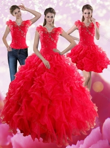 Red Sweetheart Quince Dresses with Ruffles and Beading for 2015