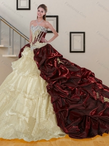 Sweep Train Multi Color Quinceanera Dresses with Appliques and Pick Ups
