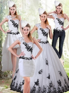 The Most Popular White and Black Sweetheart 2015 Quinceanera Dress with Black Embroidery