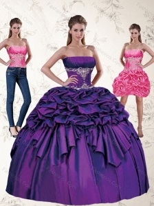 Wonderful Purple Quince Dresses with Appliques and Pick Ups for 2015
