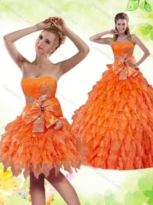 2015 Beautiful Ruffles and Bowknot Sweetheart Quinceanera Dress in Orange