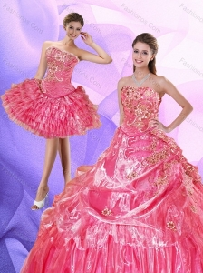 2015 Elegant Watermelon Quince Dress with Ruffled Layers and Appliques