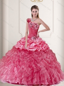 2015 Feminine One Shoulder Watermelon Quince Dresses with Pick Ups and Ruffles