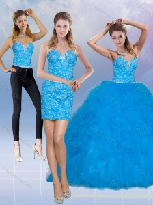 2015 Modest Teal Sweetheart Quince Dresses with Sequins and Ruffles
