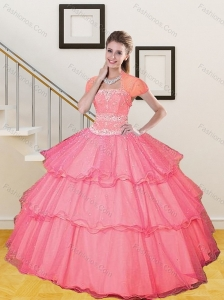 2015 Most Popular Beading and Ruffled Layers Sweet 15 Dresses in Hot Pink