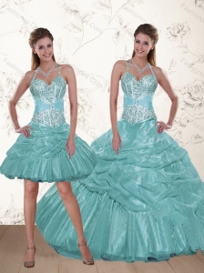 2015 Popular Halter Top Aqua Blue Quince Dresses with Beading and Ruffles