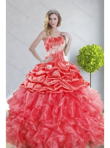 2015 Top Seller Watermelon Red Quince Dresses with Appliques and Ruffles