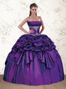 Brand New Strapless Appliques and Pick Ups Purple Quince Dress for 2015