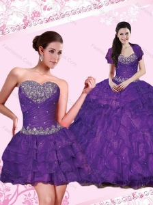 Elegant Beading and Ruffled Layers Quince Dresses in Eggplant Purple