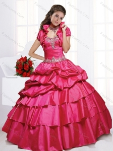 Perfect Red Quinceanera Dresses with Appliques and Pick Ups for 2015