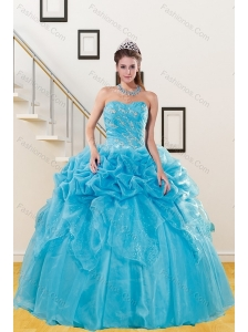 2015 Beautiful Teal Quince Gown with Embroidery and Pick Ups