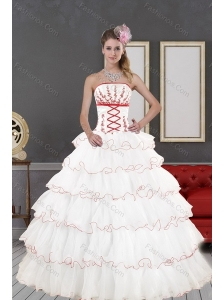 2015 Impressive White Quinceanera Dresses with Appliques and Ruffled Layers