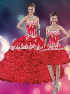 2015 Red Strapless Appliques Quinceanera Dresses with Rolling Flowers