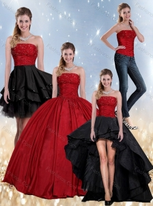 Beaded Strapless Ball Gown 2015 Quinceanera Dress in Red and Black
