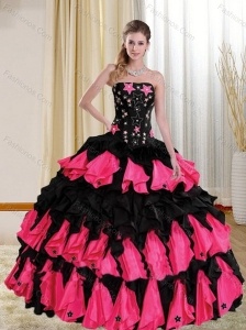 Classical 2015 Strapless Multi Color Quinceanera Dresses with Appliques and Ruffles