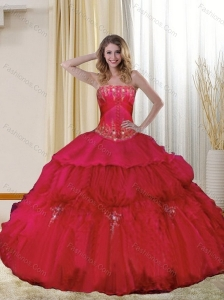 Classical Strapless Red Quinceanera Dresses with Beading and Ruffles for 2015