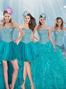 Elegant Turquoise Sweetheart 2015 Quinceanera Dresses with Beading