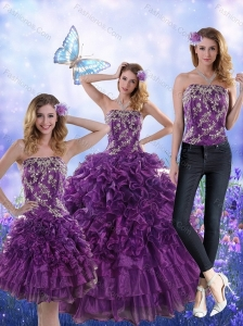Fantastic Purple Strapless Quince Dresses with Appliques and Ruffles for 2015