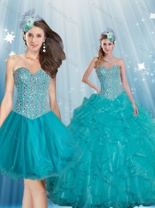 Gorgeous Sweetheart 2015 Turquoise Quinceanera Dresses with Beading