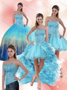 Multi Color Sweetheart Quinceanera Dress with Ruffles and Beading