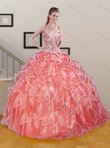 Pretty Watermelon Sweetheart Ruffled and Appliqued Quinceanera Dresses for 2015