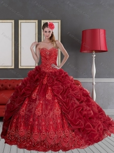 Sturning 2015 Sweetheart Wine Red Quinceanera Dresses with Pick Ups and Appliques