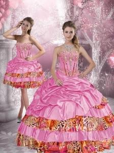 Unique Leopard Printed Quinceanera Dresses with Beading and Pick Ups for 2015